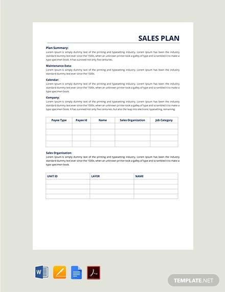 Free Sales Report Plan Template