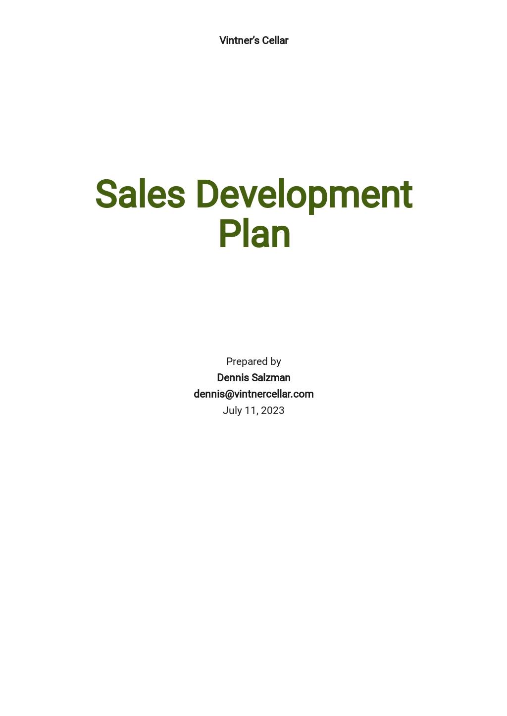 Sales Development Plan Template