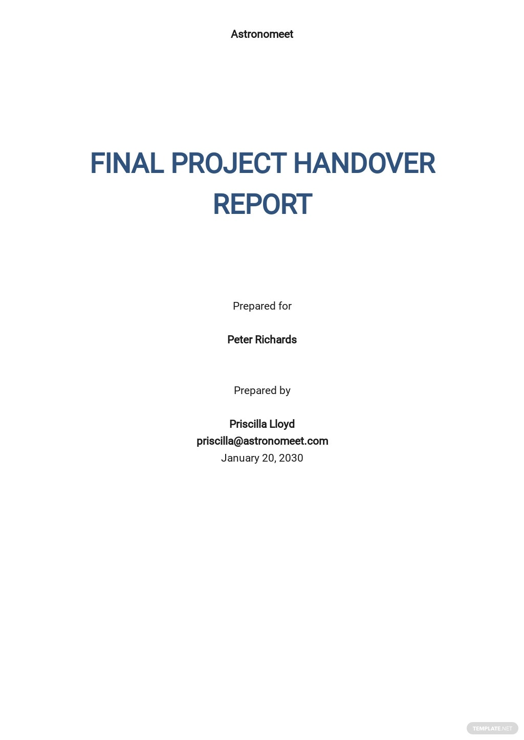 Final Project Handover Report