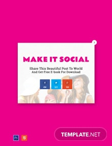 Website Social Media Sharing Pop-up Template