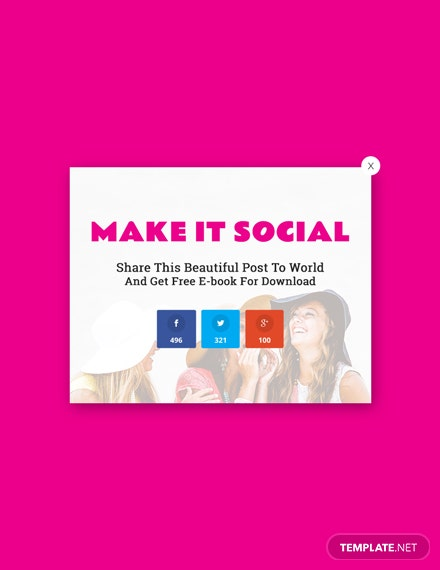 Free Website Social Media Sharing Pop-up Template