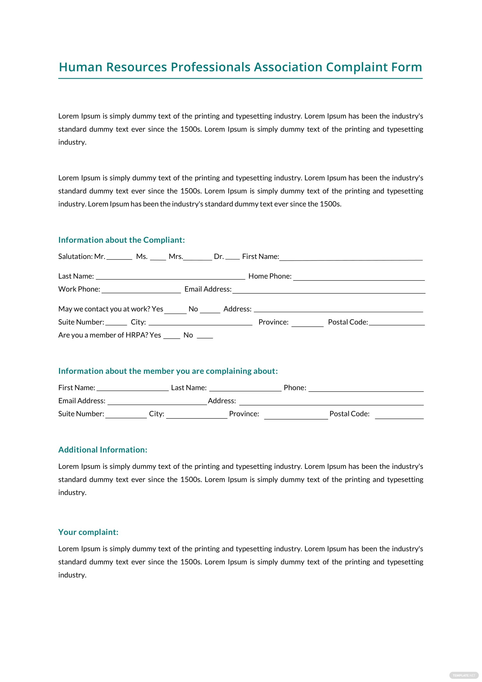 Hr professionals association complaint form template in microsoft hr professionals association complaint form thecheapjerseys Image collections