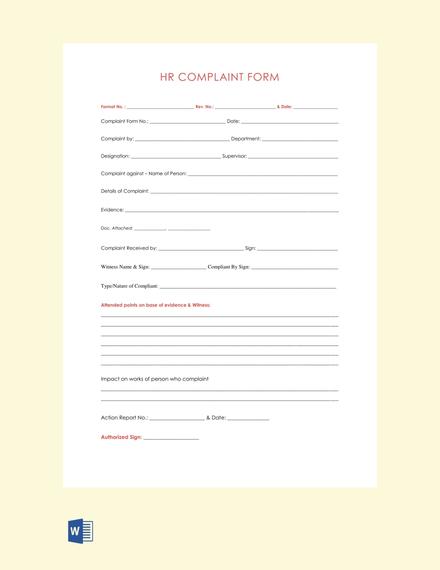 Free HR Complaint Form Template