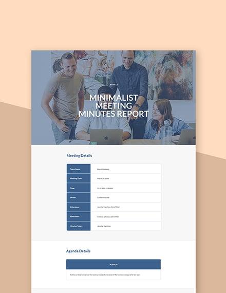 Free Minimalist Meeting Minutes Template