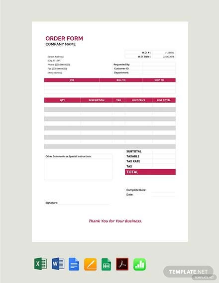 order form template free download 1