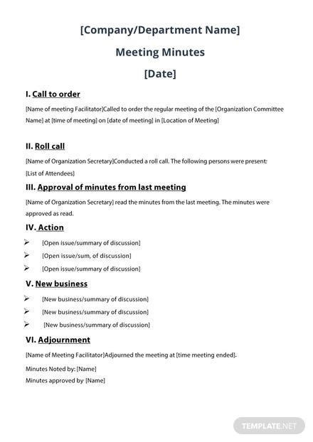 Writing Meeting Minutes Template