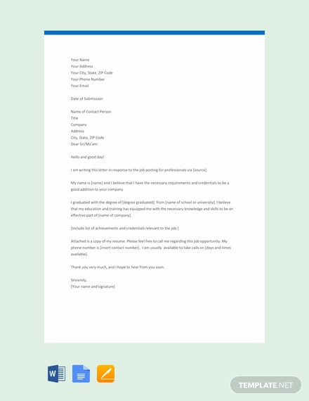 Free Professional Lication Letter Template