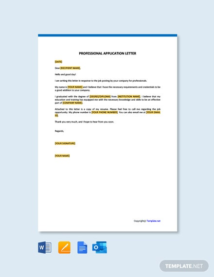 FreeProfessionalApplicationLetterTemplate