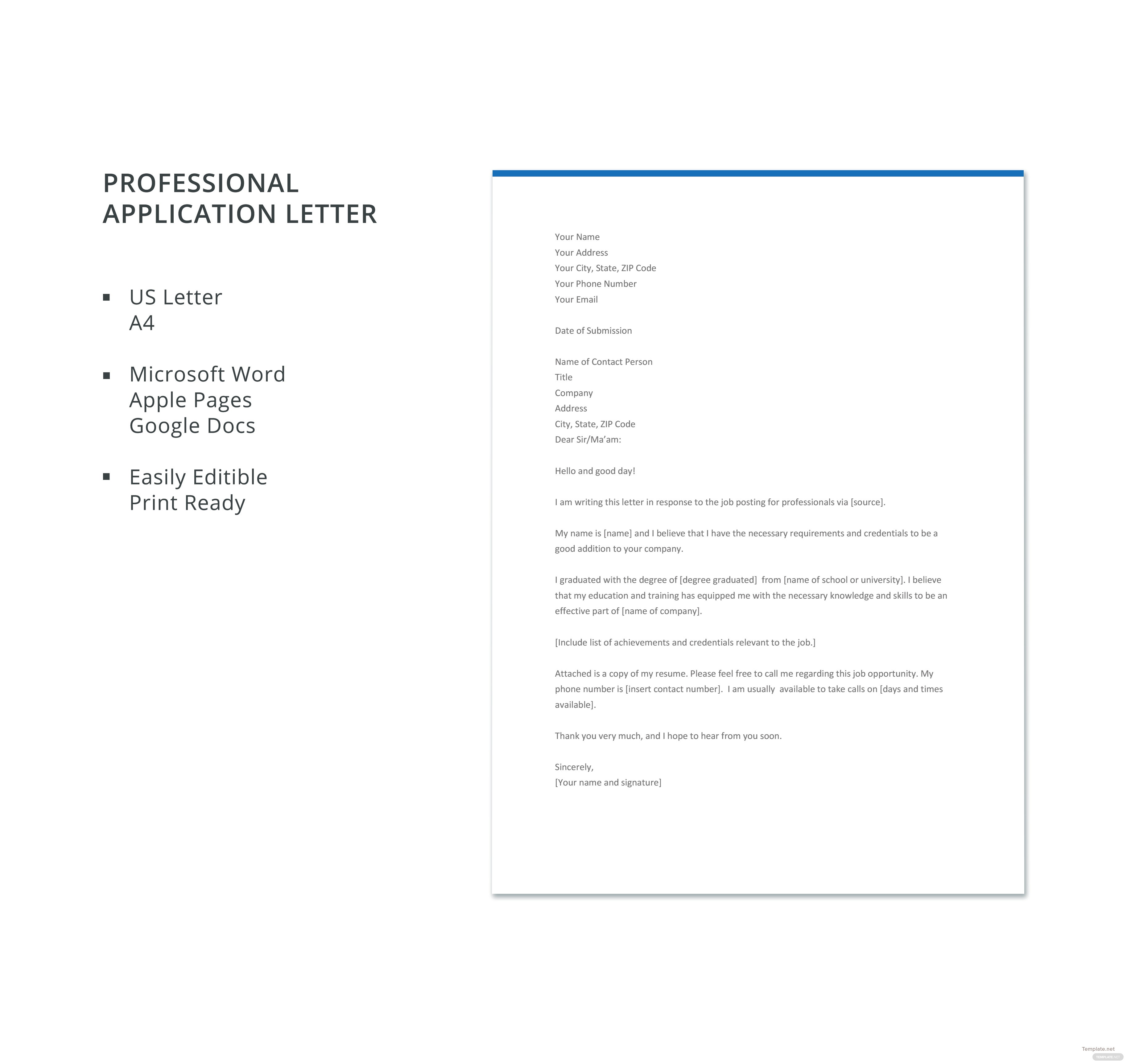 Free professional application letter template in microsoft word free professional application letter template madrichimfo Gallery