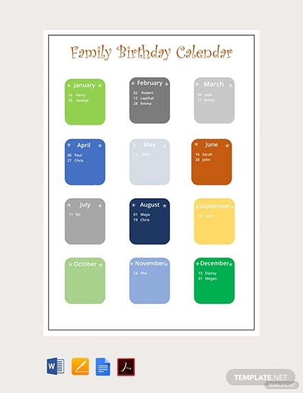 Free Family Birthday Calendar Template