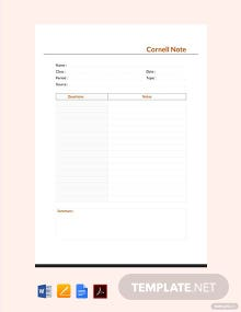Free Cornell Note Template