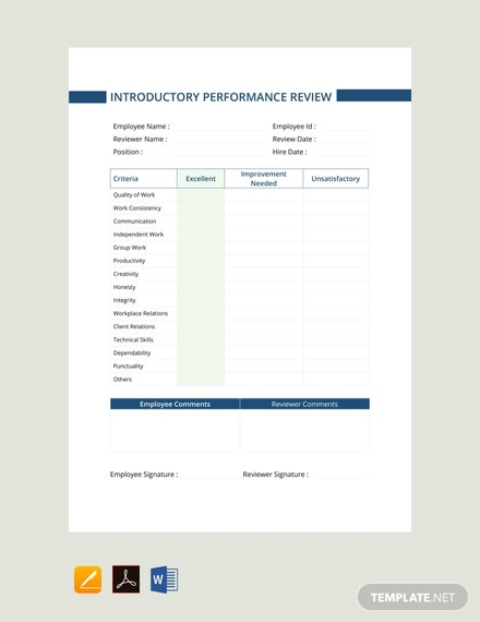 Free Introductory Period Performance Review Template