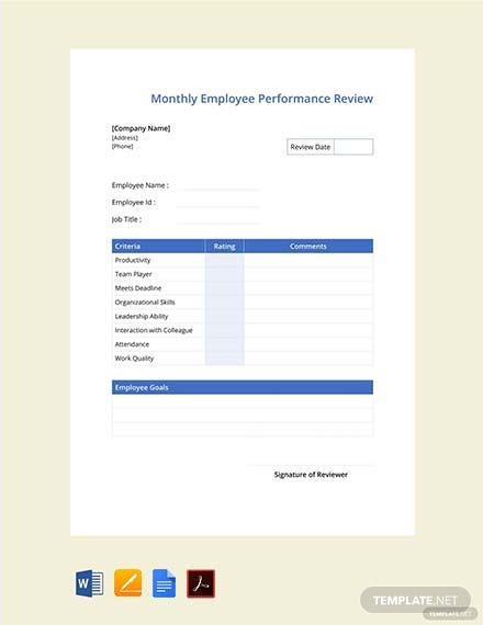 Monthly-Employee-Review-Template-1  Day Performance Review Examples on performance expectations template, performance metrics template, employee appraisal examples, job-performance examples, education examples, performance report example, performance feedback form template, performance goals objectives, interview examples,