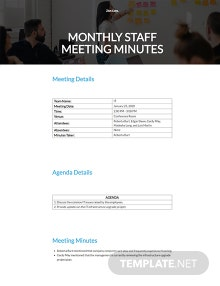Free Monthly Staff Meeting Minutes Template