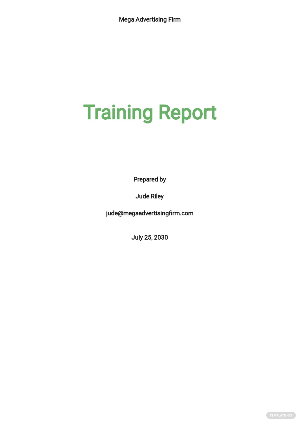 Sample Training Report Template