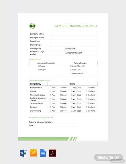 Free Sample Training Report Template