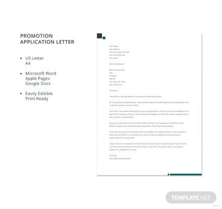 Free Promotion Application Letter Template
