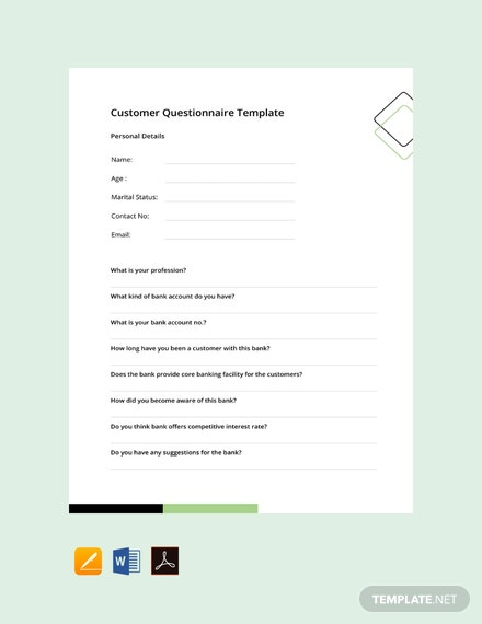 Free Customer Questionnaire Template