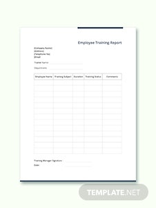 Sample Employee Training Report