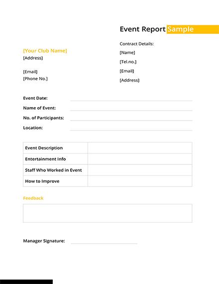 Event Report Sample