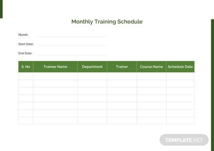 Monthly Training Schedule