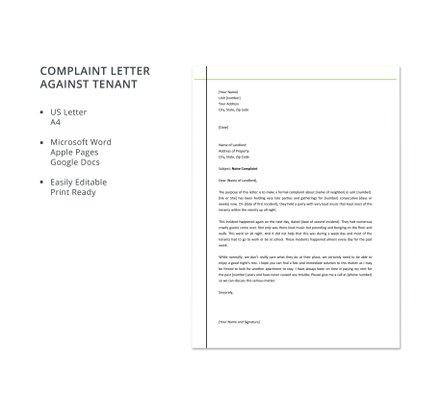 Complaint Letter Against Tenant