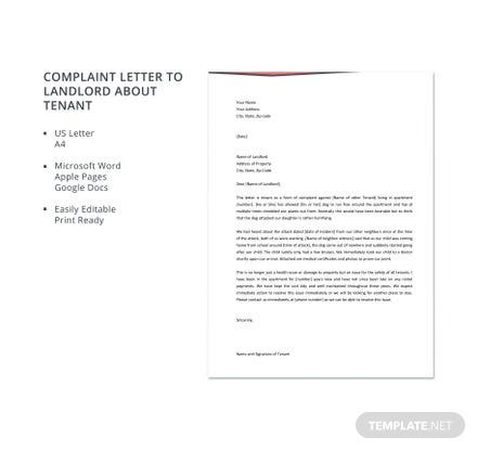 Complaint Letter to Landlord about Tenant