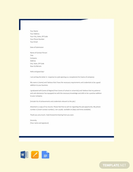 Free Receptionist Application Letter Template