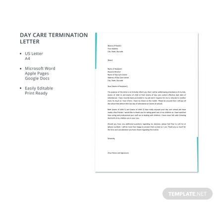 Day Care Termination Letter