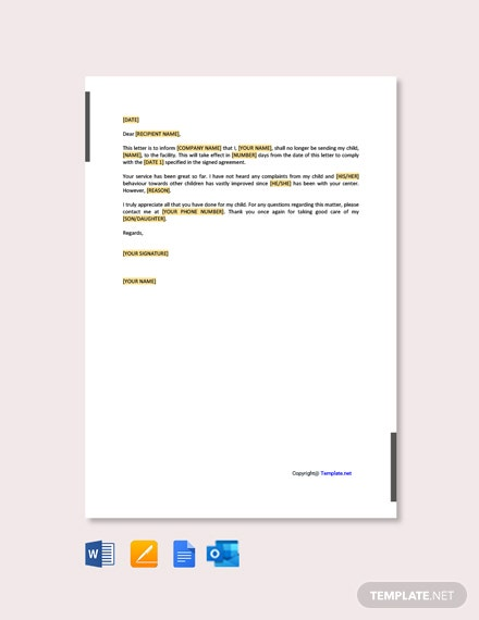 Free Sample Termination Letter for Day Care Business