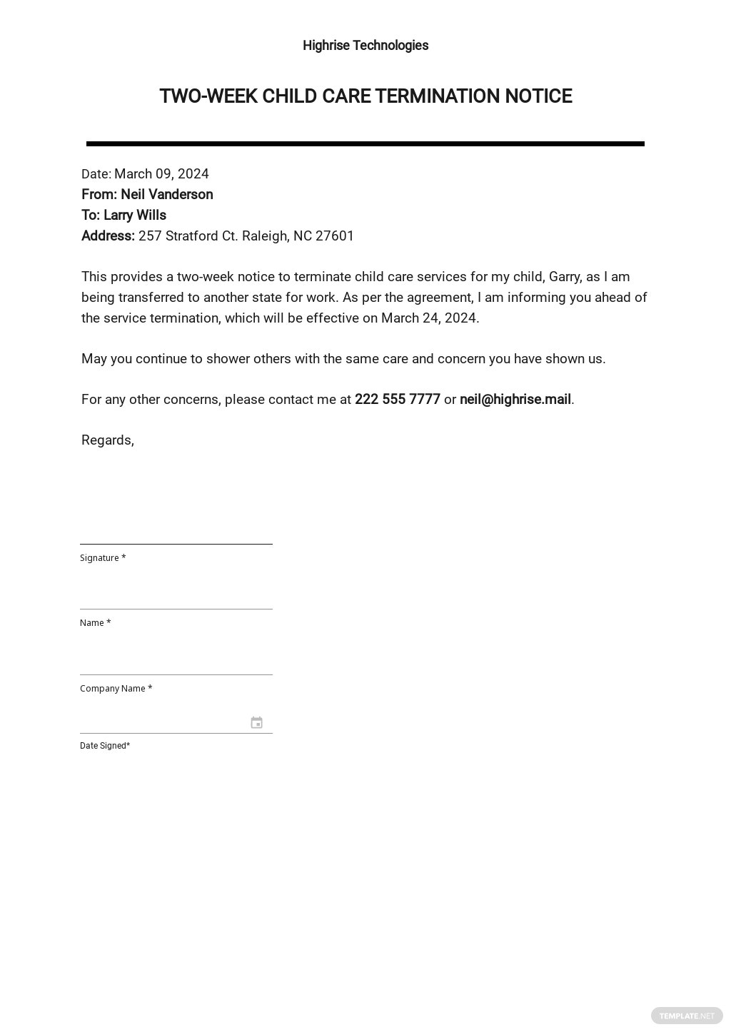 Two Week Child Day Care Termination Notice Sample Template