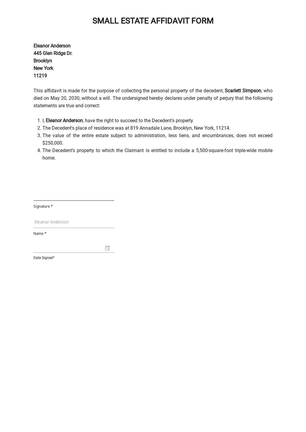 30+ FREE Small Estate Affidavit Templates [Edit & Download ...