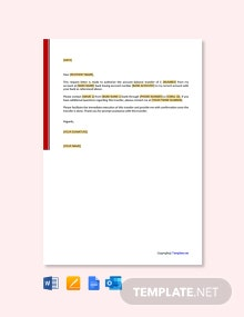 Free Authorization Letter to Transfer Money