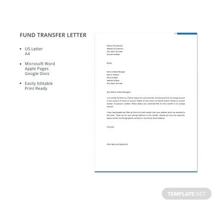 Free Fund Transfer Letter