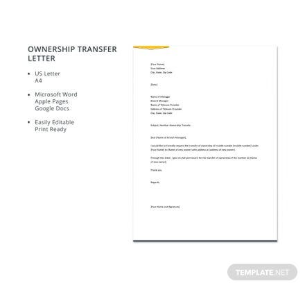 Free Ownership Transfer Letter