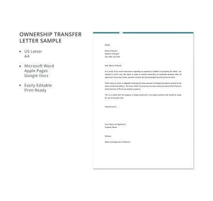 Free Ownership Transfer Letter Sample