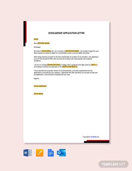 FreeScholarshipApplicationLetterTemplate