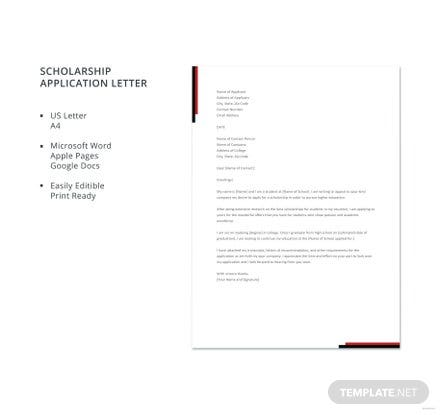 Free Scholarship Application Letter Template