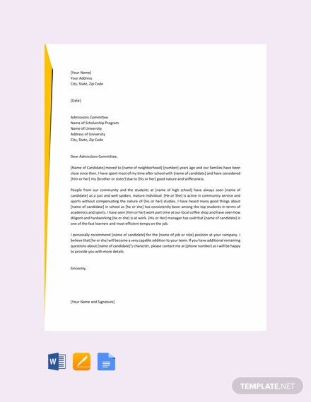Free Letter of Recommendation for a Friend
