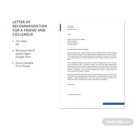 Letter of Recommendation for a Friend and Colleague