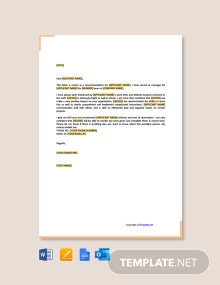 Free Recommendation Letter for Employee from Manager
