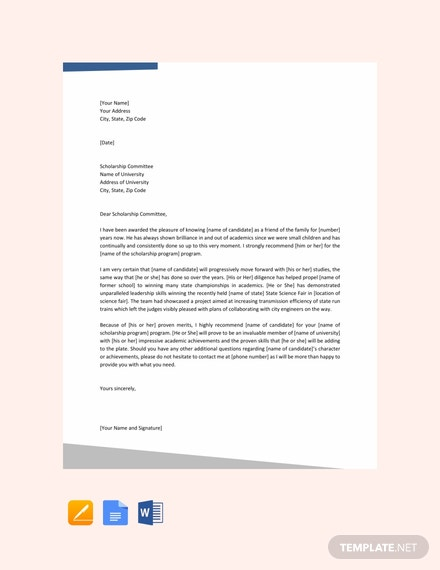 free recommendation letter for scholarship from family friend template