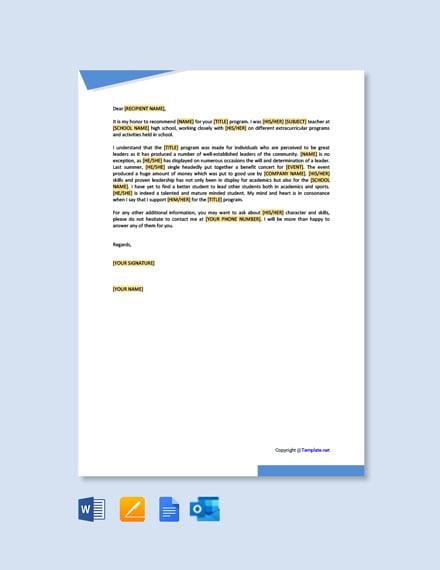 Free Sample Scholarship Recommendation Letter