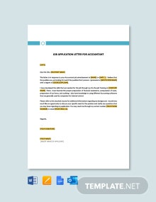 Free Job Application Letter Template For Accountant