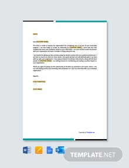 Free Internship Acceptance Thank You Letter