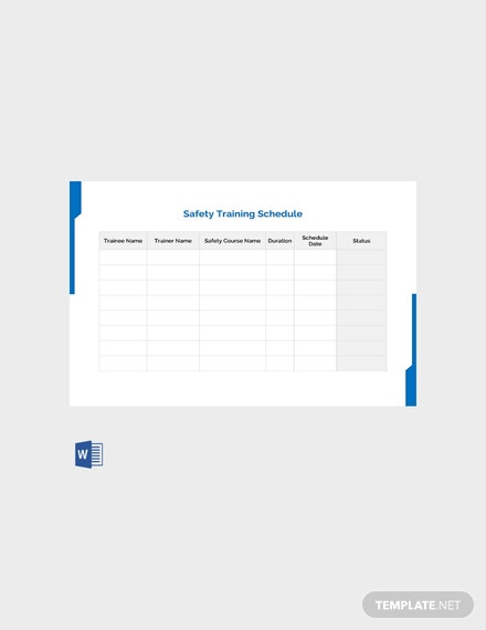 safety training calendar template - free safety training template download 128 schedules in