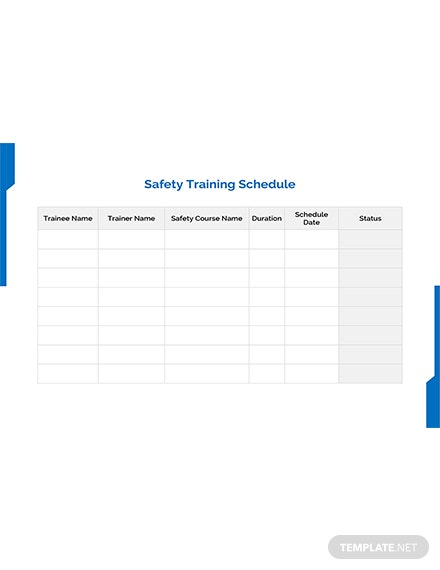 Free work training schedule template download 128 for Safety training calendar template