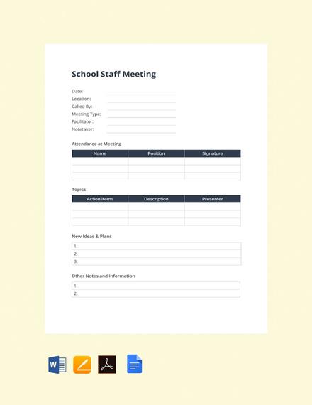 Free School Staff Meeting Template