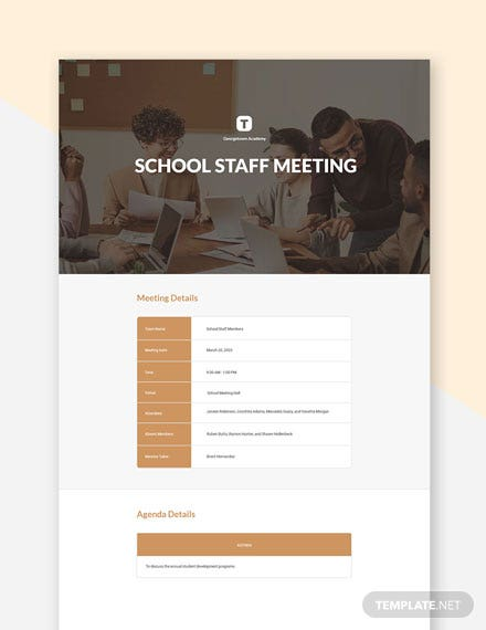 Free School Staff Meeting Template