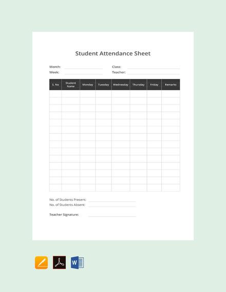 Free Student Attendance Sheet Template